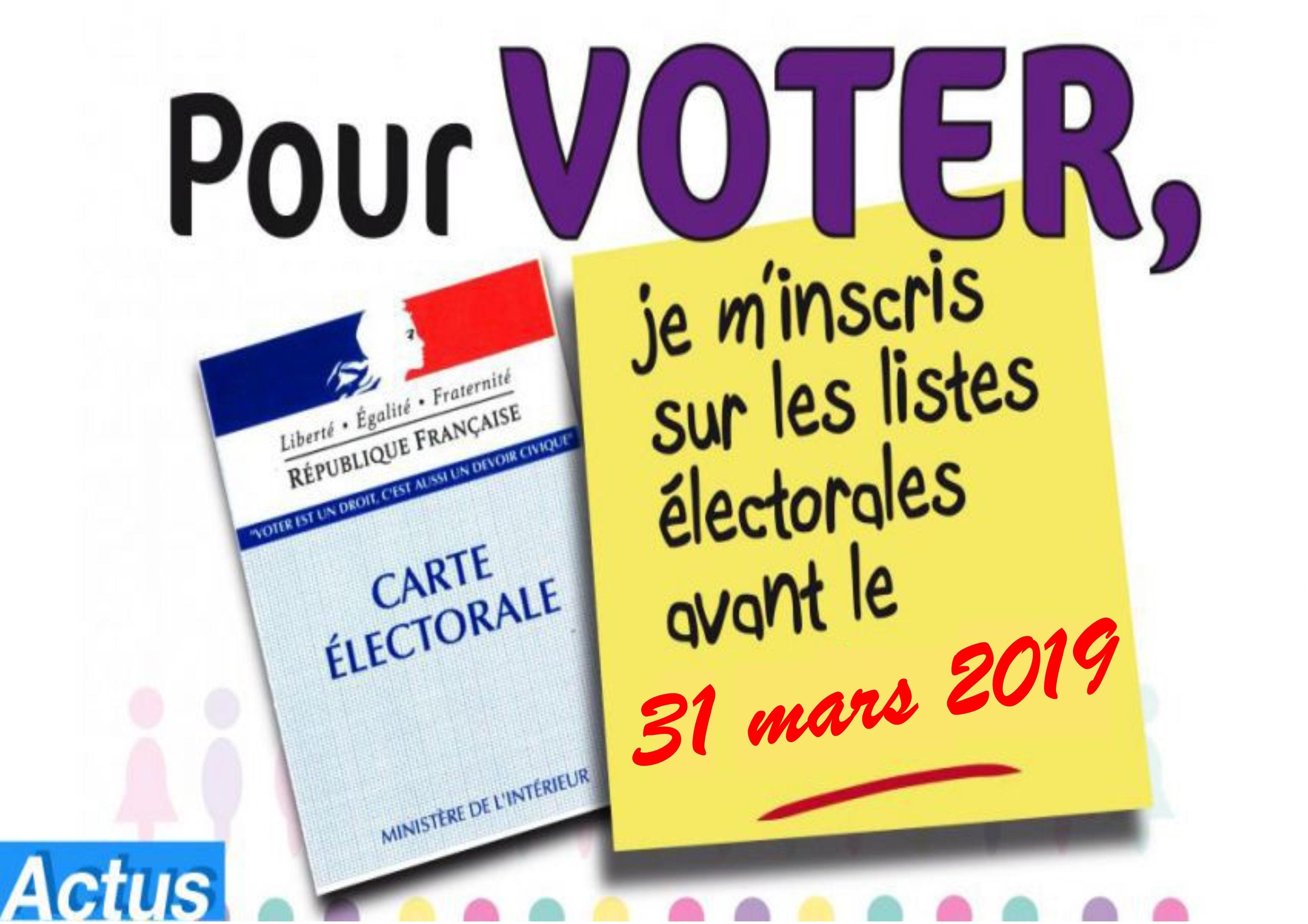 Info. dernière minute : Inscription sur les listes électorales
