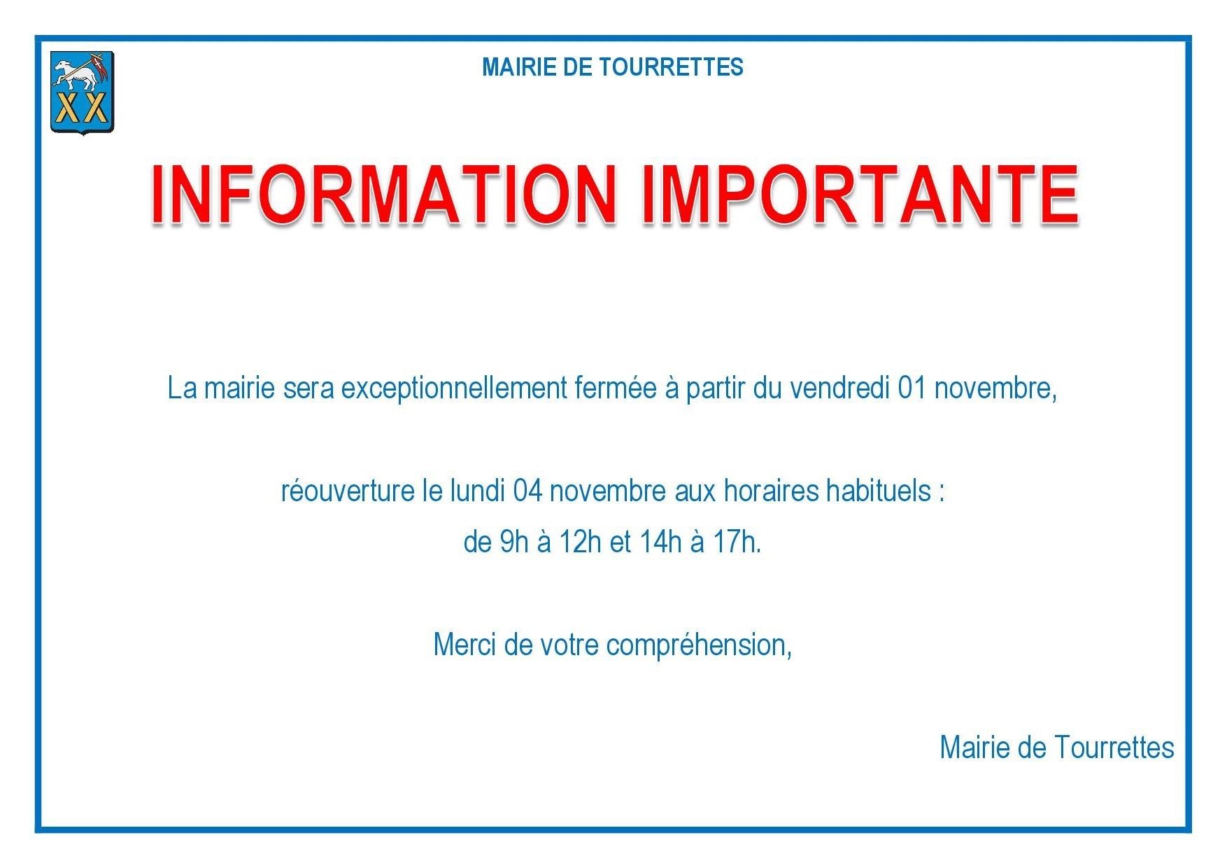 Information importante : fermeture exceptionnelle de la Mairie
