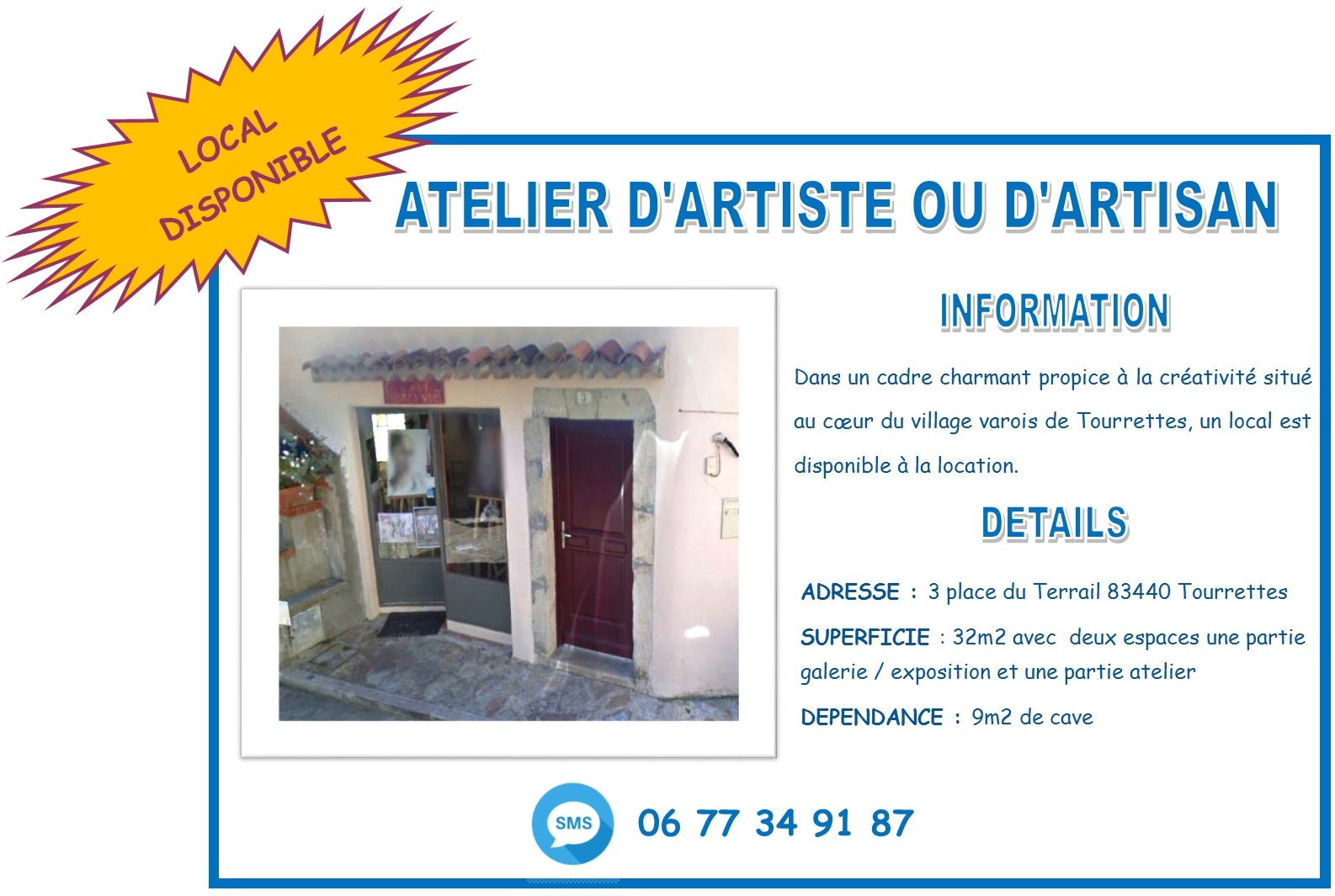 [LOCAL DISPONIBLE A LA LOCATION] Atelier d'Artiste ou d'Artisan